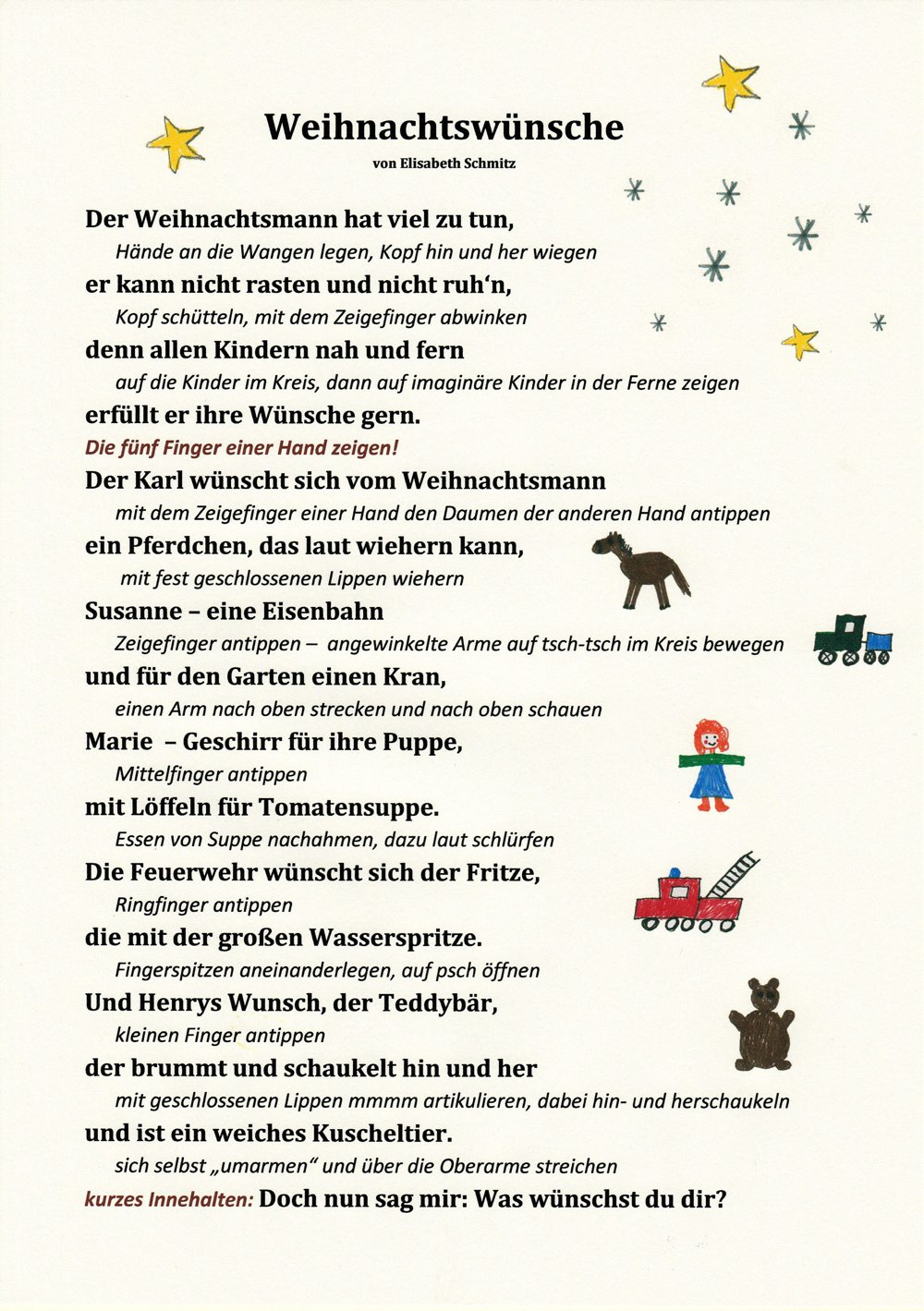 Ein Weihnachtsgedicht Mit Bewegungen - Kitakram.de innen Weihnachtsgedichte Für Kinder