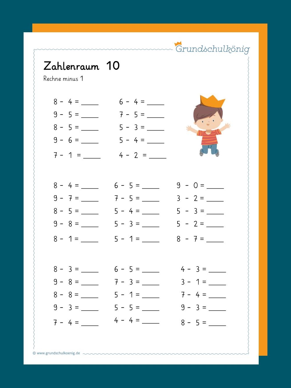 Eine Aufgaben Zur Subtraktion Im Zahlenraum 10 Für Mathe In über Rechenaufgaben 1 Klasse Kostenlos