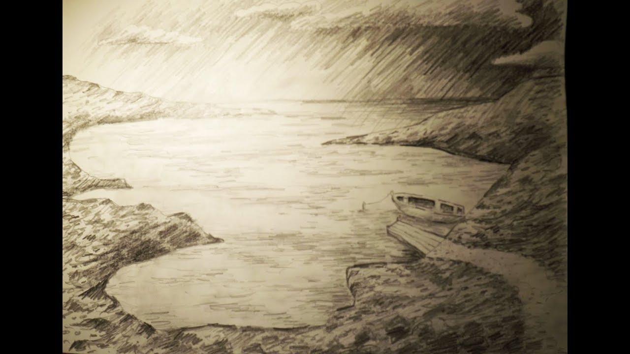 Eine Einfache Landschaft Effektvoll Mit Bleistift Zeichnen mit Einfache Landschaften Zeichnen