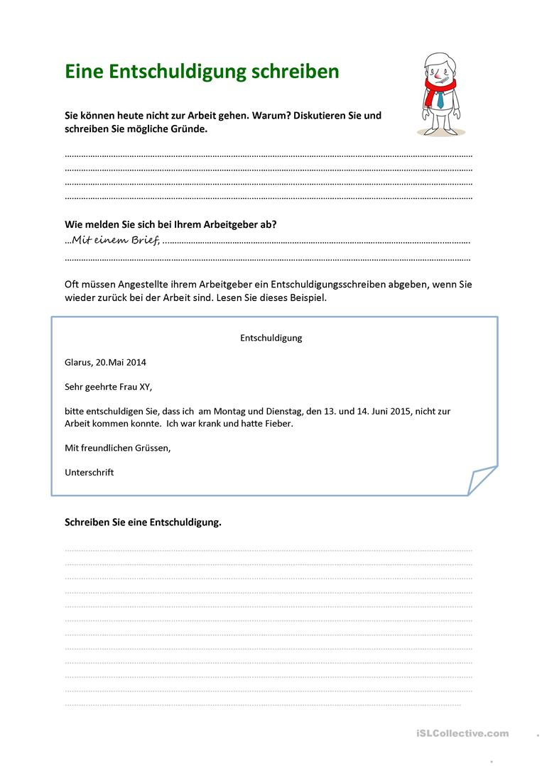 Eine Entschuldigung Schreiben - Deutsch Daf Arbeitsblatter ganzes Wie Schreibt Man Eine Entschuldigung Für Die Schule