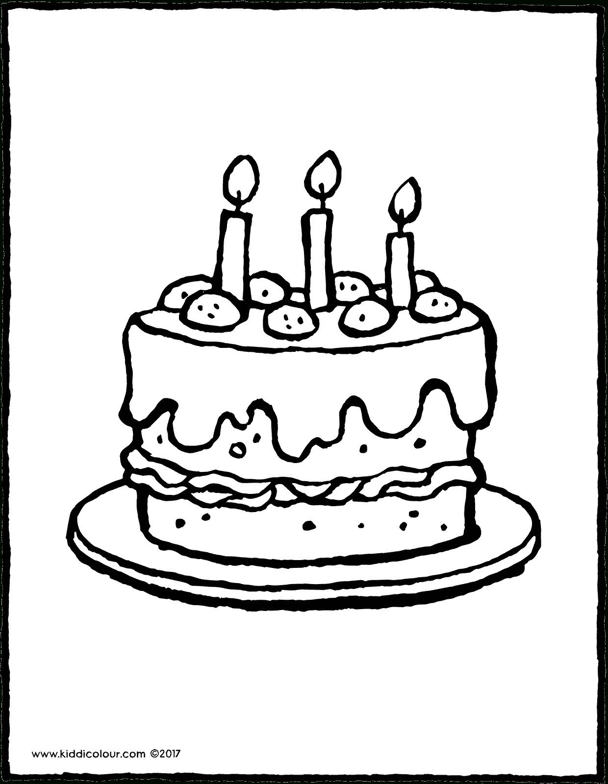 Eine Torte Mit 3 Kerzen - Kiddimalseite innen Ausmalbild Torte