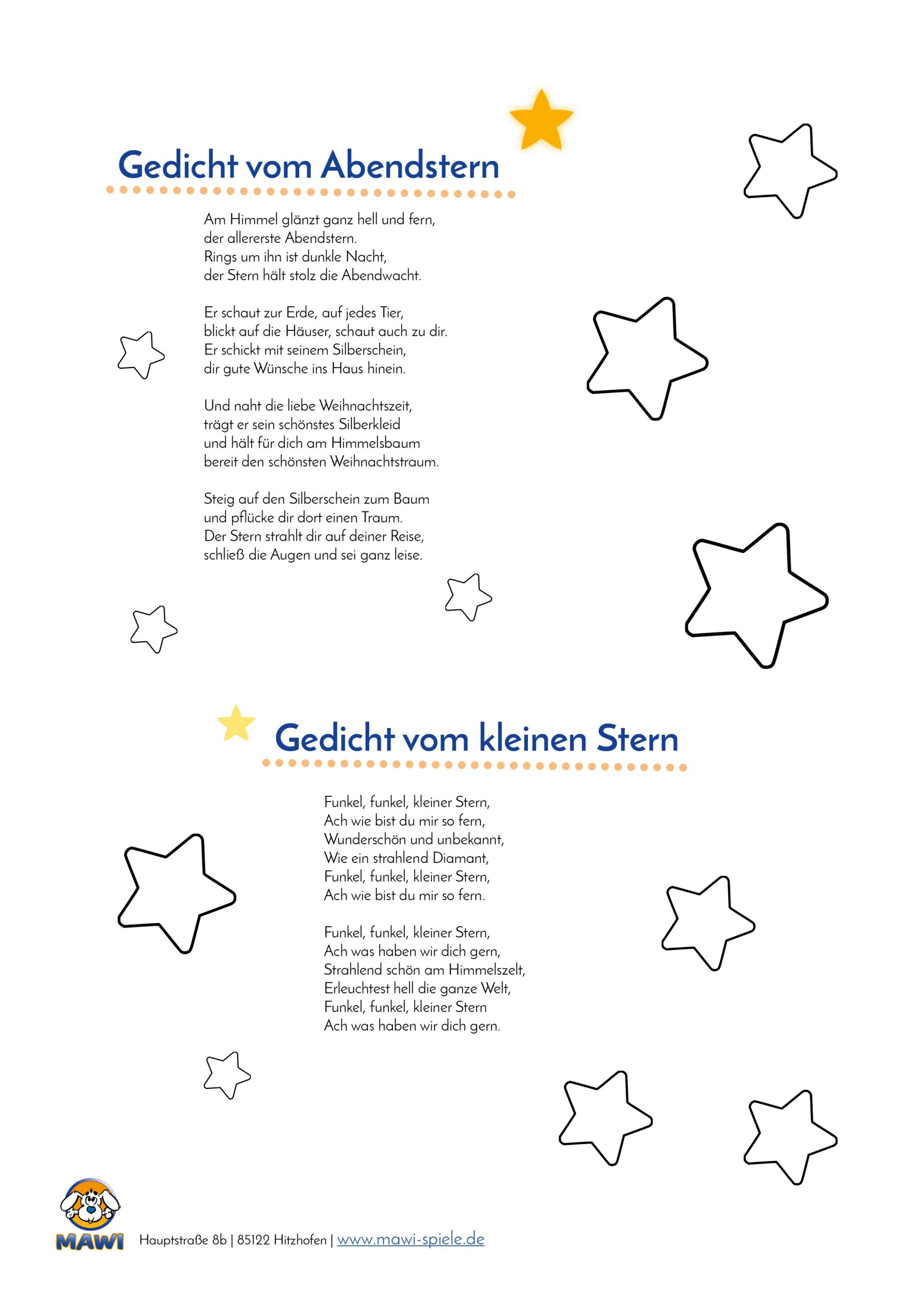 Eine Wunderschöne Sterngeschichte, Lied Und Gedichte in Gedichte Zu Weihnachten Für Kindergartenkinder