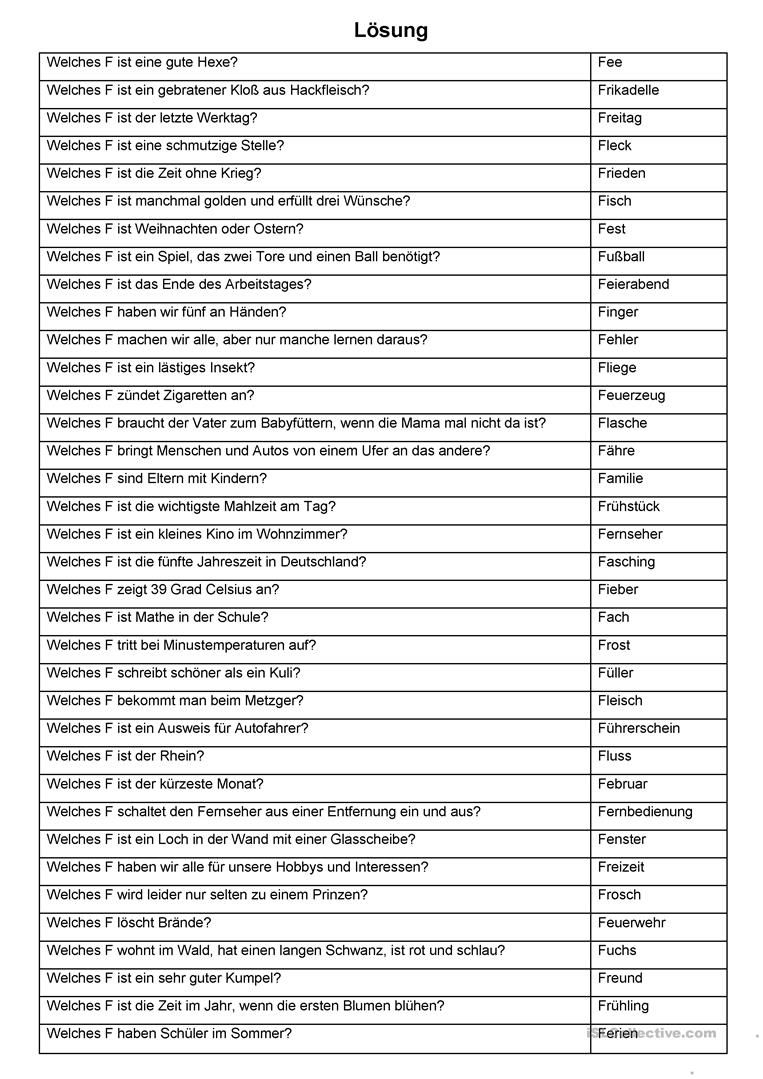 Eine Zwischendurchübung (22) - Abc Spiel (F-Rätsel) | Abc ganzes Rätsel Für Senioren Zum Ausdrucken