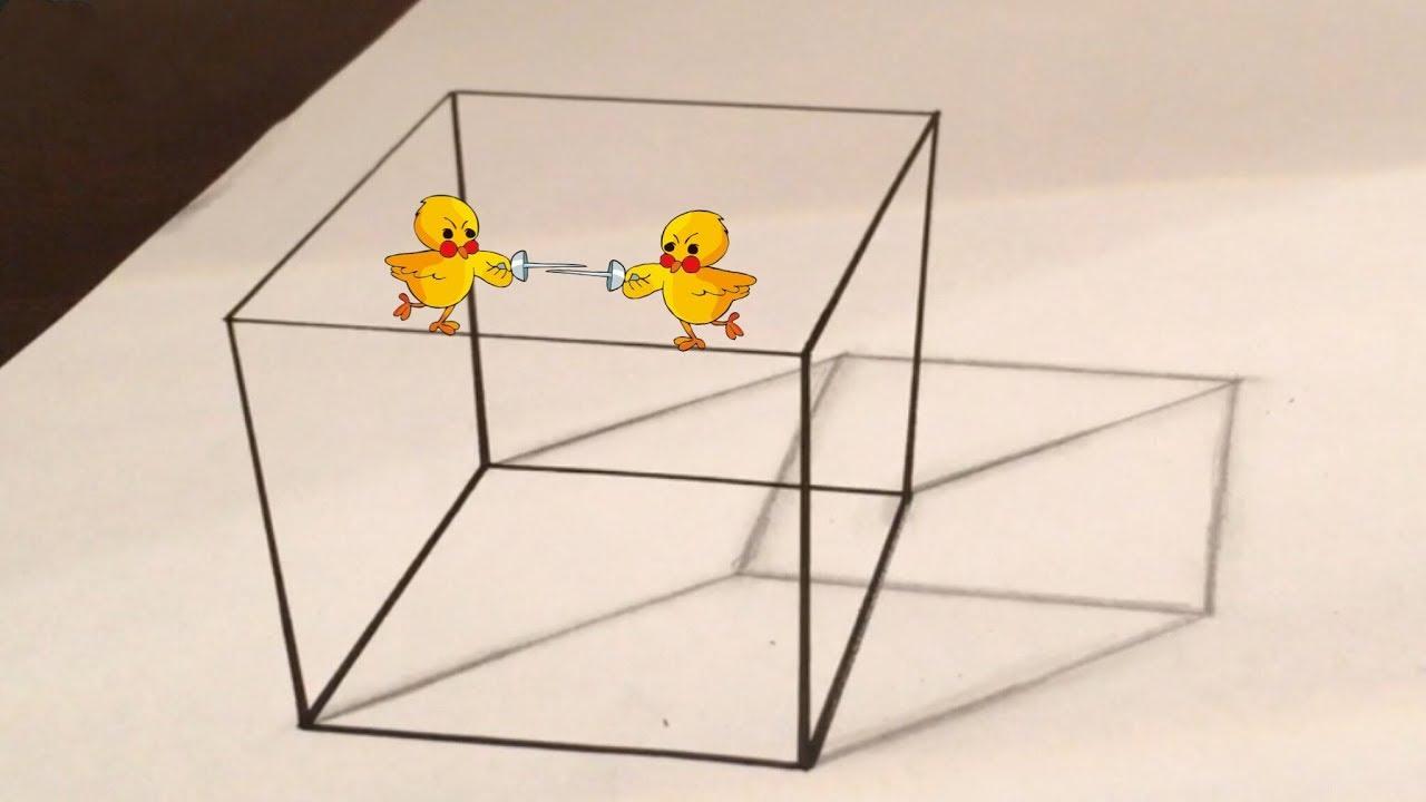 Einen 3D Würfel Zeichnen / Illusion für 3D Würfel Zeichnen