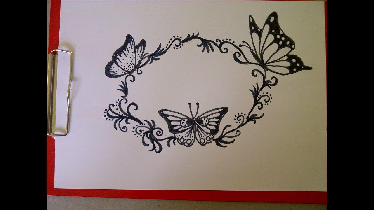 Einen Schmetterling Zeichnen. Schöne Verzierungen/muster Für Eine  Geburtstagskarte.(Zeitraffer) verwandt mit Geburtstagskarten Muster