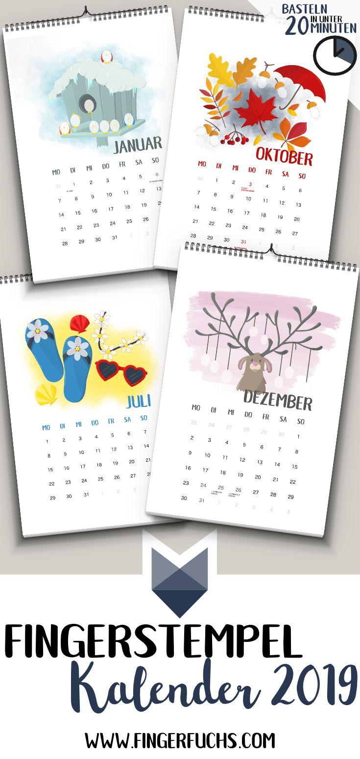 Einfach Kalender Basteln Mit Kindern - Fingerstempel bestimmt für Kalender Zum Selber Basteln