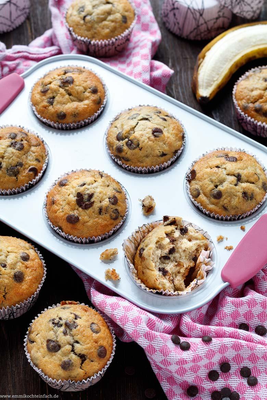Einfache Bananen-Schoko Muffins für Muffin Rezept Kindergeburtstag Einfach