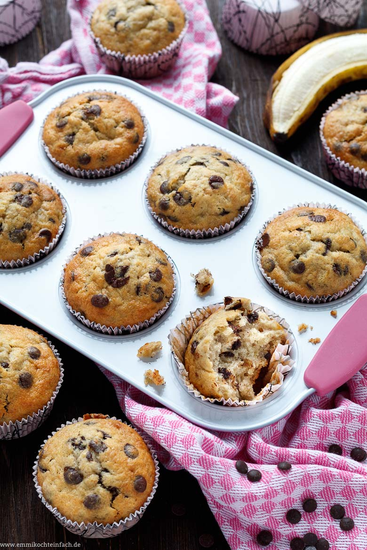 Einfache Bananen-Schoko Muffins mit Muffins Rezepte Einfach Schnell Lecker