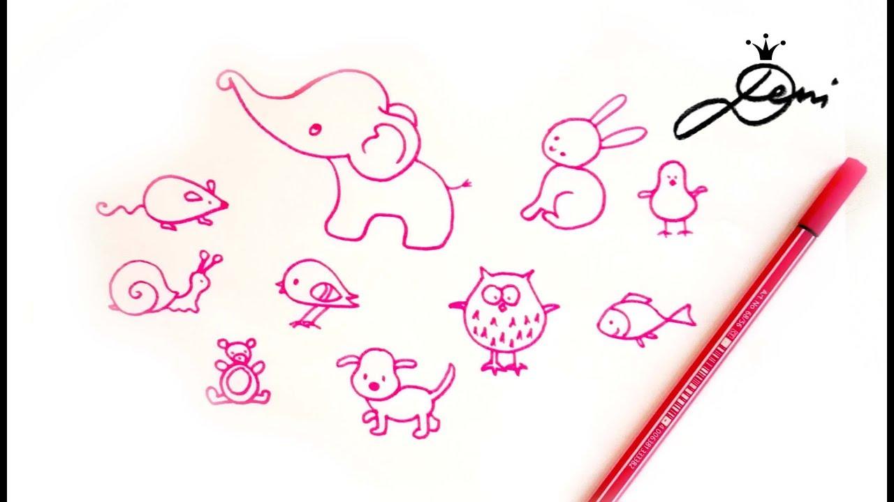 Einfache Tiere Schnell Zeichnen Lernen 🐰 How To Draw Easy Simple Animals  🐘 Рисувам Лесни Животни bei Tiere Einfach Zeichnen