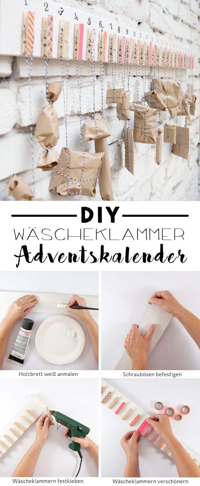Einfacher Diy Adventskalender Mit Wäscheklammern bei Einfacher Adventskalender Basteln