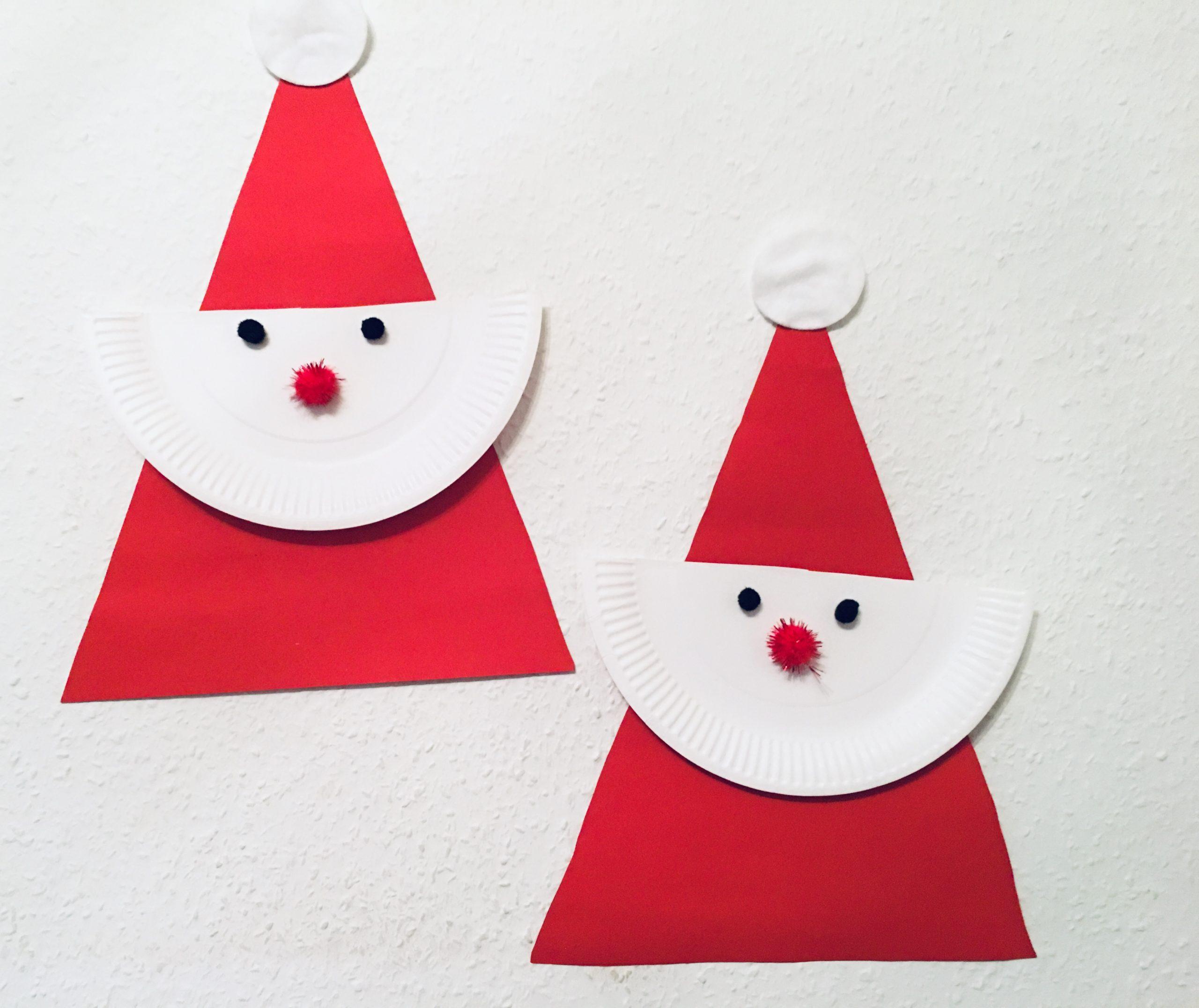 Einfacher Weihnachtsmann Aus Pappteller - Basteln Mit ganzes Nikolaus Bastelvorlage