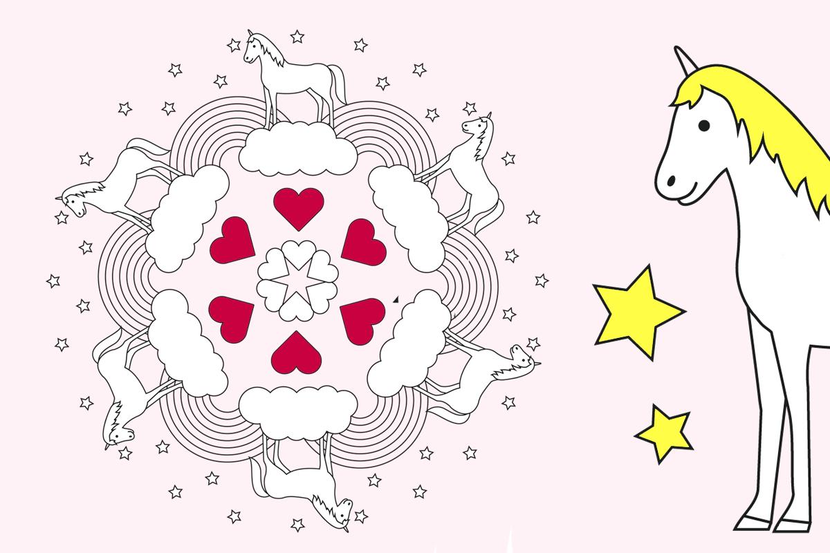 Einhorn Mandala » Pdf Zum Ausdrucken | Kribbelbunt in Mandala Einhorn