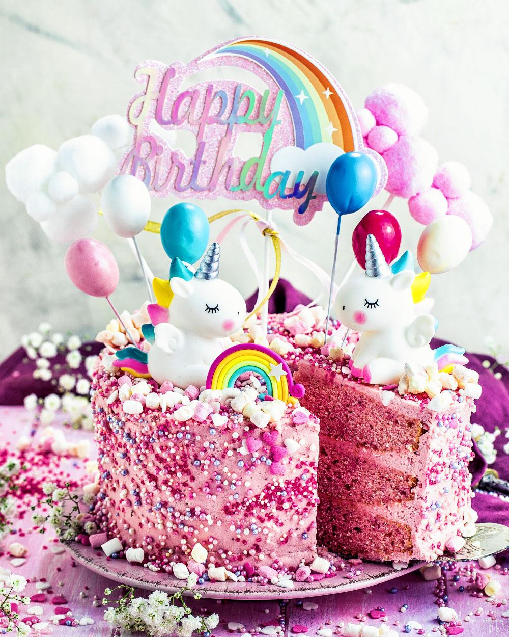 Einhorn-Torte - Einfaches Rezept Für Mädchen Geburtstagstorte bestimmt für Geburtstagskuchen Zum 1 Geburtstag
