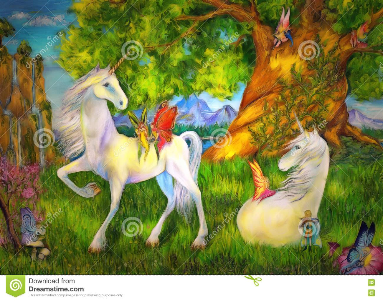 Einhörner Und Elfen Stock Abbildung. Illustration Von Sommer ganzes Elfen Und Einhörner