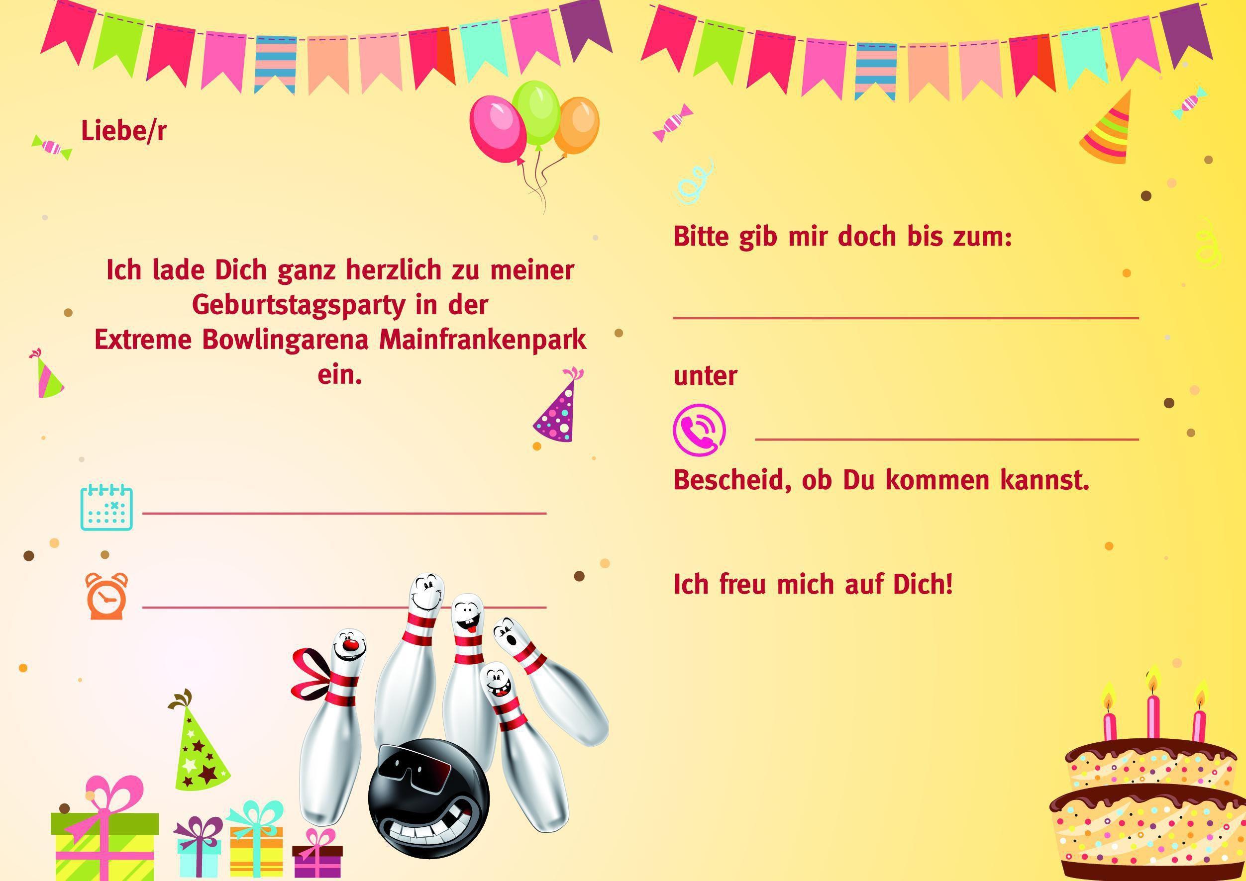 Einladung Bowlingkugel   Einladungen Geburtstag Kostenlos über Karten Selbst Gestalten Kostenlos Zum Ausdrucken