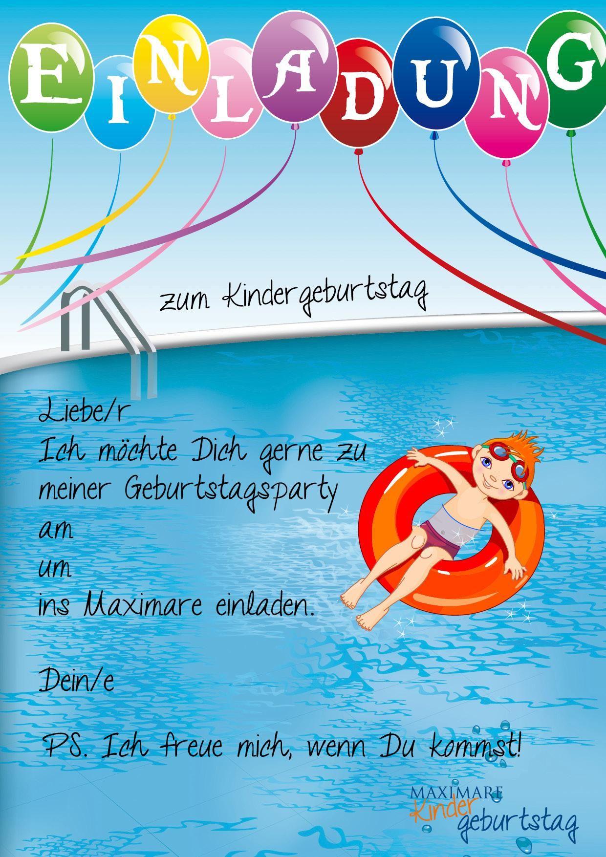 Einladung Kindergeburtstag Schwimmbad (Mit Bildern mit Geburtstagskarten Kindergeburtstag