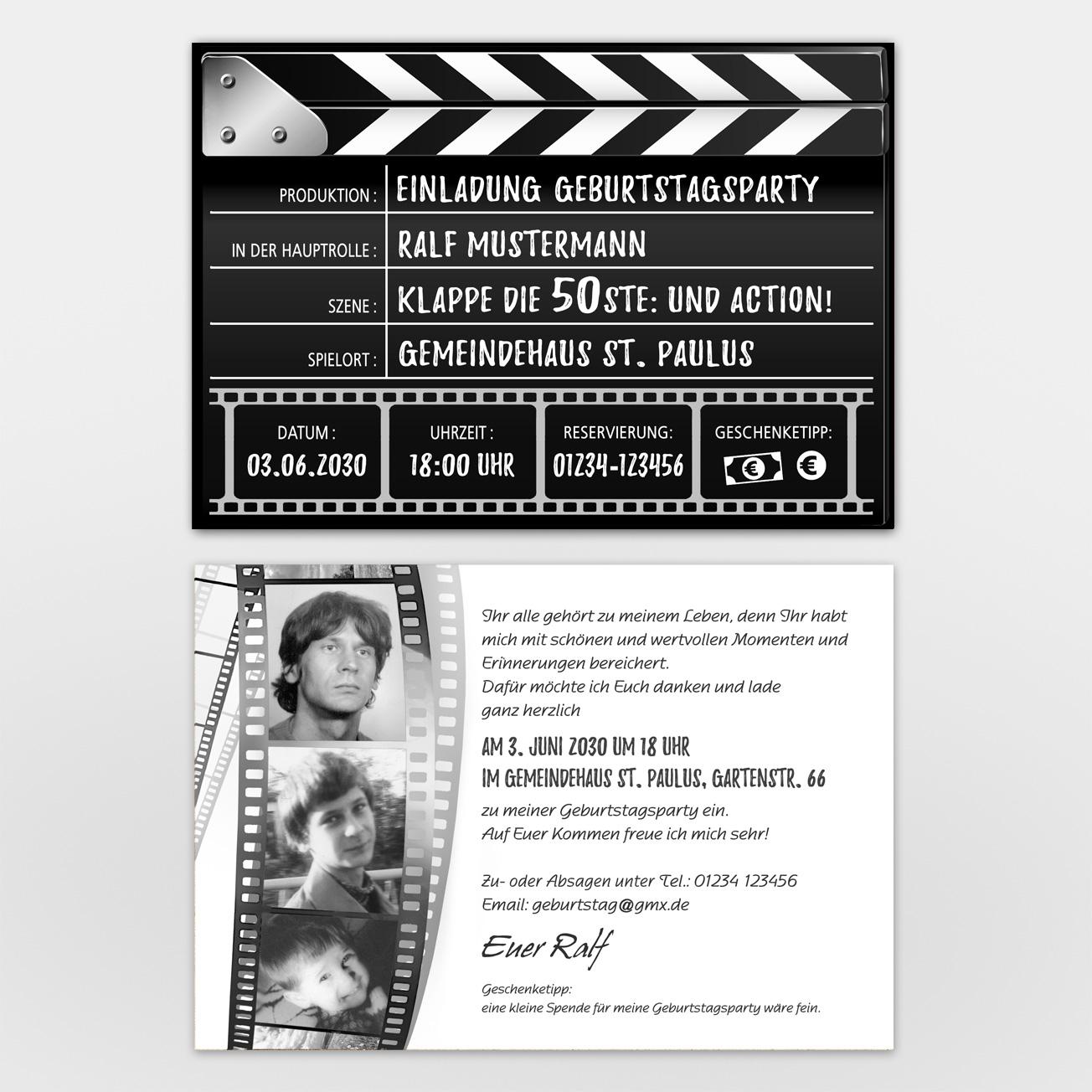 Einladungskarten Geburtstag Kino Filmklappe – 1001Karte verwandt mit Filmklappe Einladung Vorlage Kostenlos