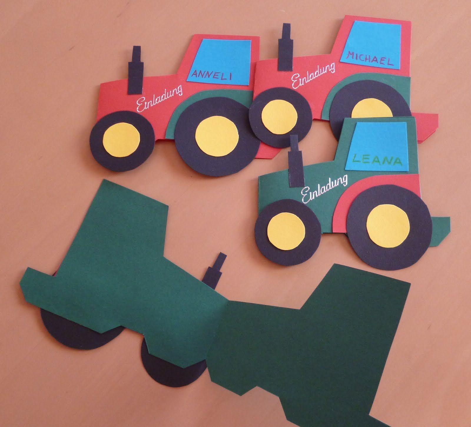 Einladungskarten Traktor Kindergeburtstag | Einladung über Trecker Bastelvorlage
