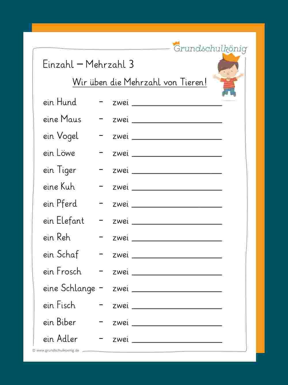 Einzahl / Mehrzahl bei Deutsch 2 Klasse Volksschule Übungsblätter