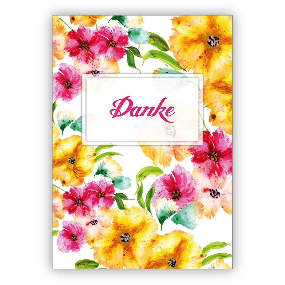 Elegante Dankes Karte Mit Wunderschönen Sommer Blüten Zum Bedanken: Danke in Dankes Karten