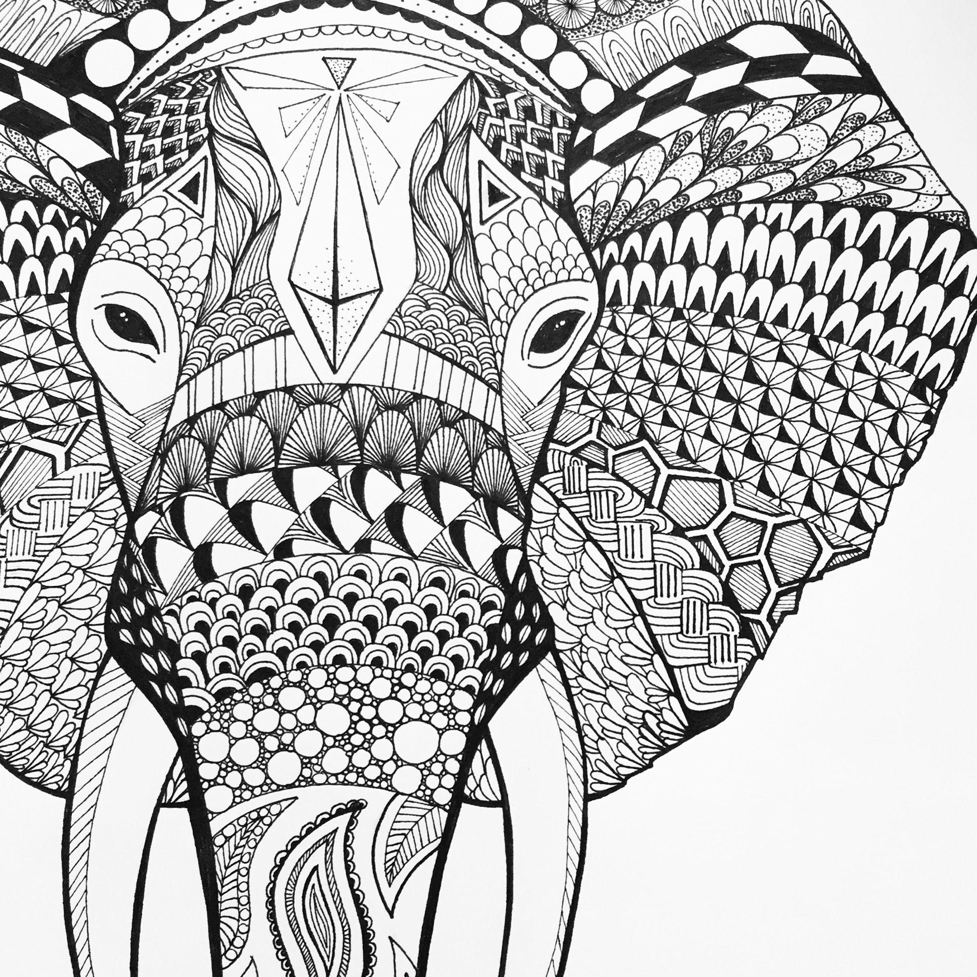 Elephant – Sophiasmonster #elephant #zentangle #elefant #art verwandt mit Muster Zum Malen