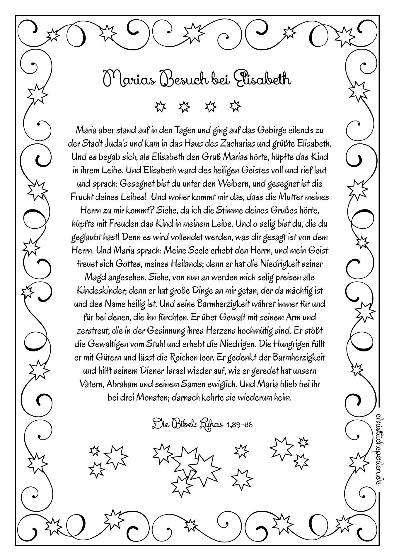 Elisabeth | Christliche Perlen innen Weihnachten Geschichte Zum Ausdrucken