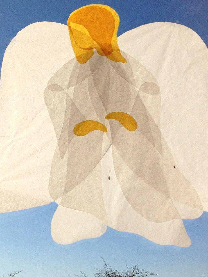 Engel Aus Seidenpapier | Scherenschnitt Weihnachten ganzes Engel Bastelvorlage
