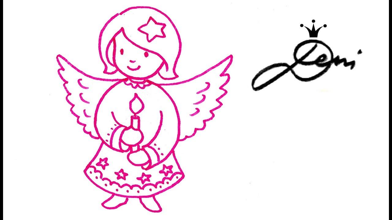 Engel Malen ❄️ Wie Zeichnet Man Schnell Ein Engelchen 👸🏼 How To Draw An  Angel 👧🏼рисува Ангелче bei Engelsgesicht Malen