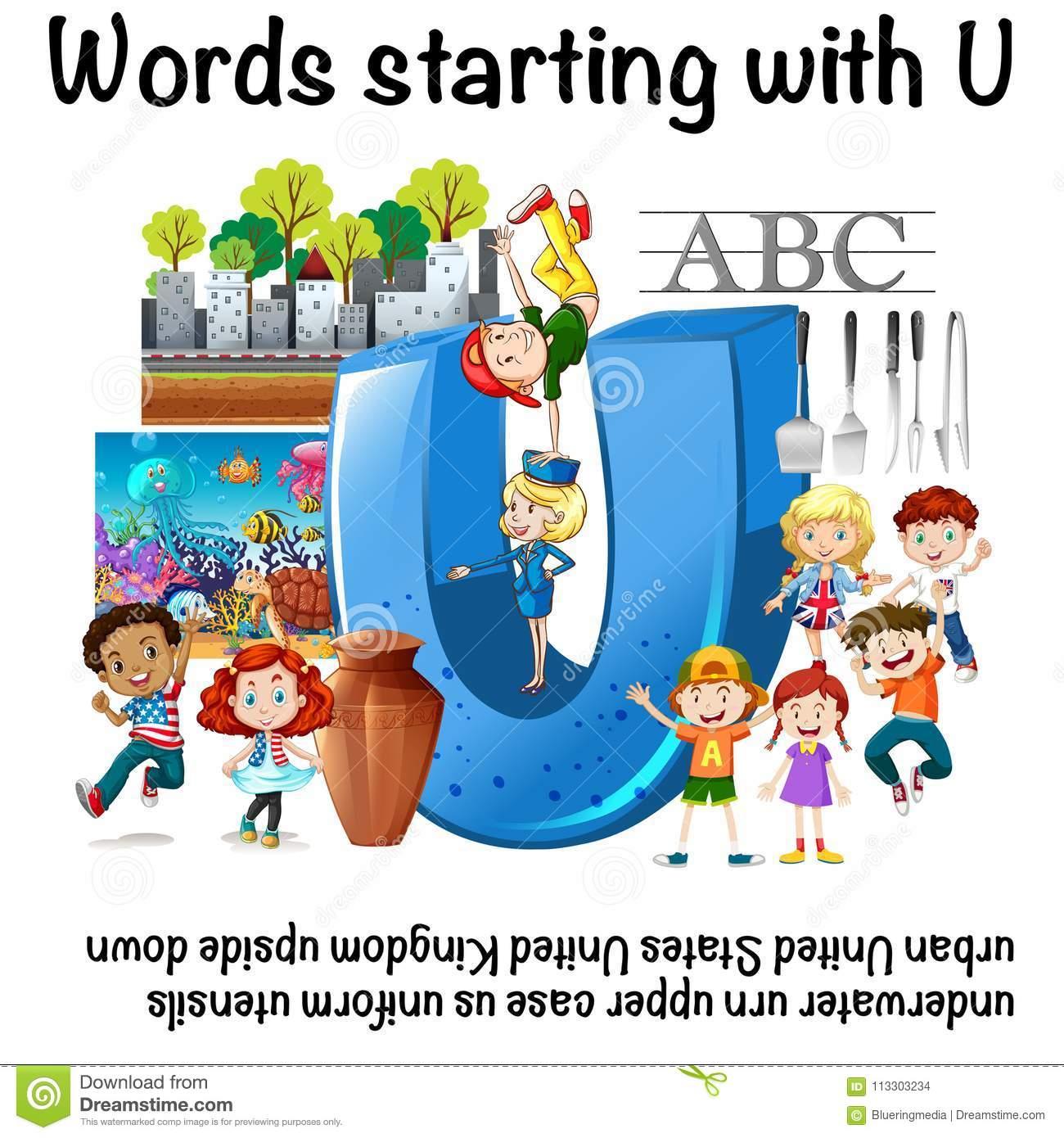 Englisches Arbeitsblatt Für Die Wörter, Die Mit U Beginnen für Wörter Die Mit Ü Beginnen