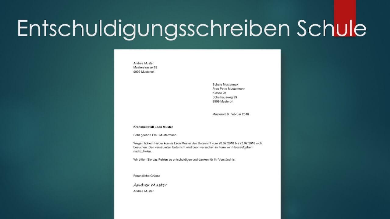Entschuldigung Für Die Schule (Vorlage) | Muster-Vorlage.ch über Wie Schreibt Man Eine Entschuldigung Für Die Schule