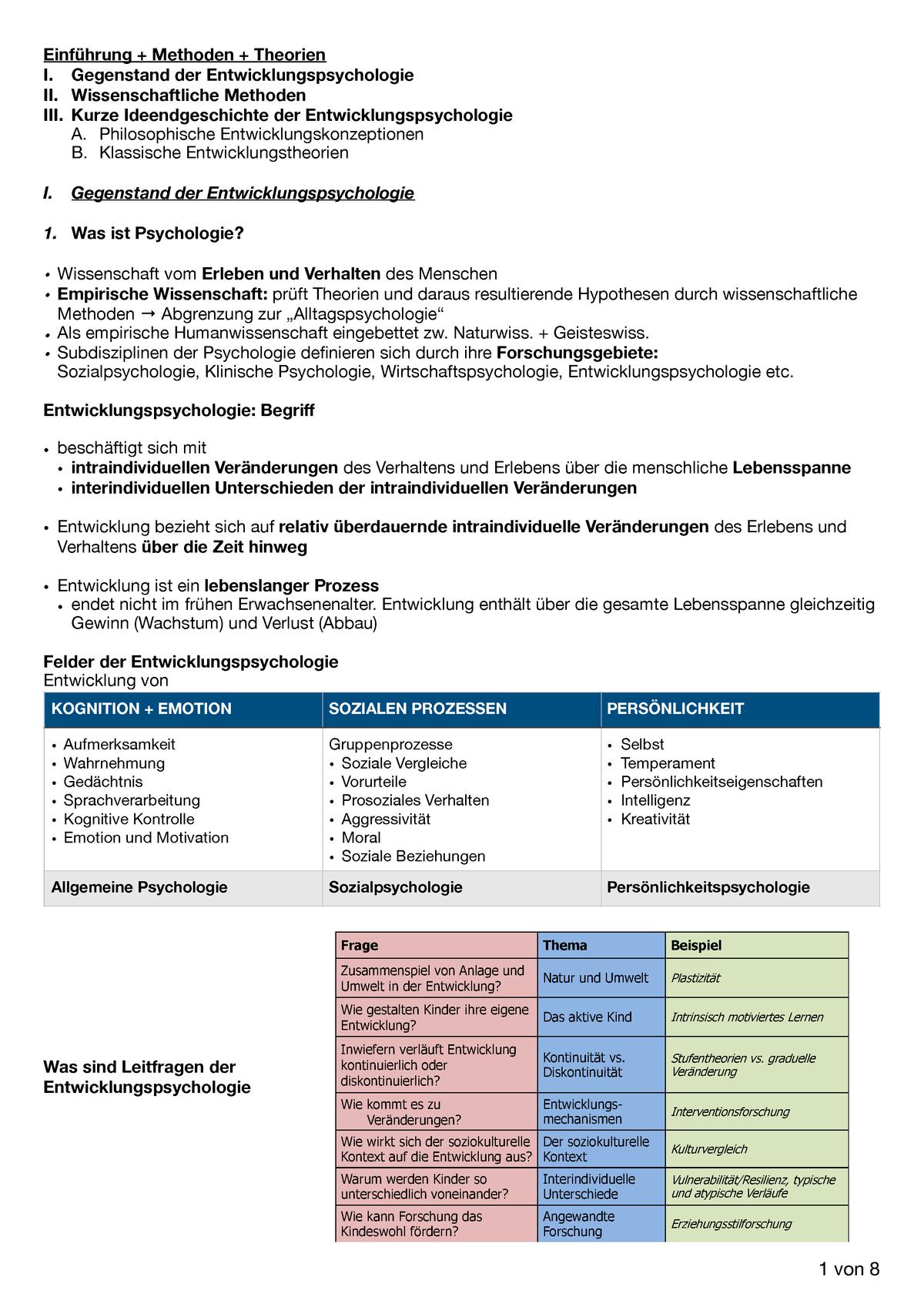 Entwicklungspsychologie Zusammenfassung - 11503 - Lmu - Studocu mit Kognitive Entwicklung Kind Tabelle