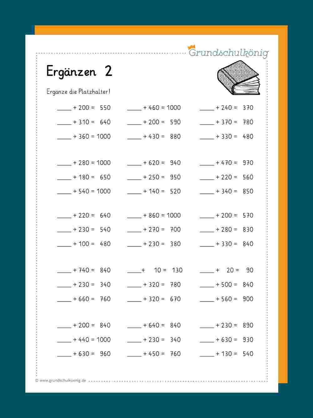 Ergänzen Bis 1000 in Lernblätter Mathe