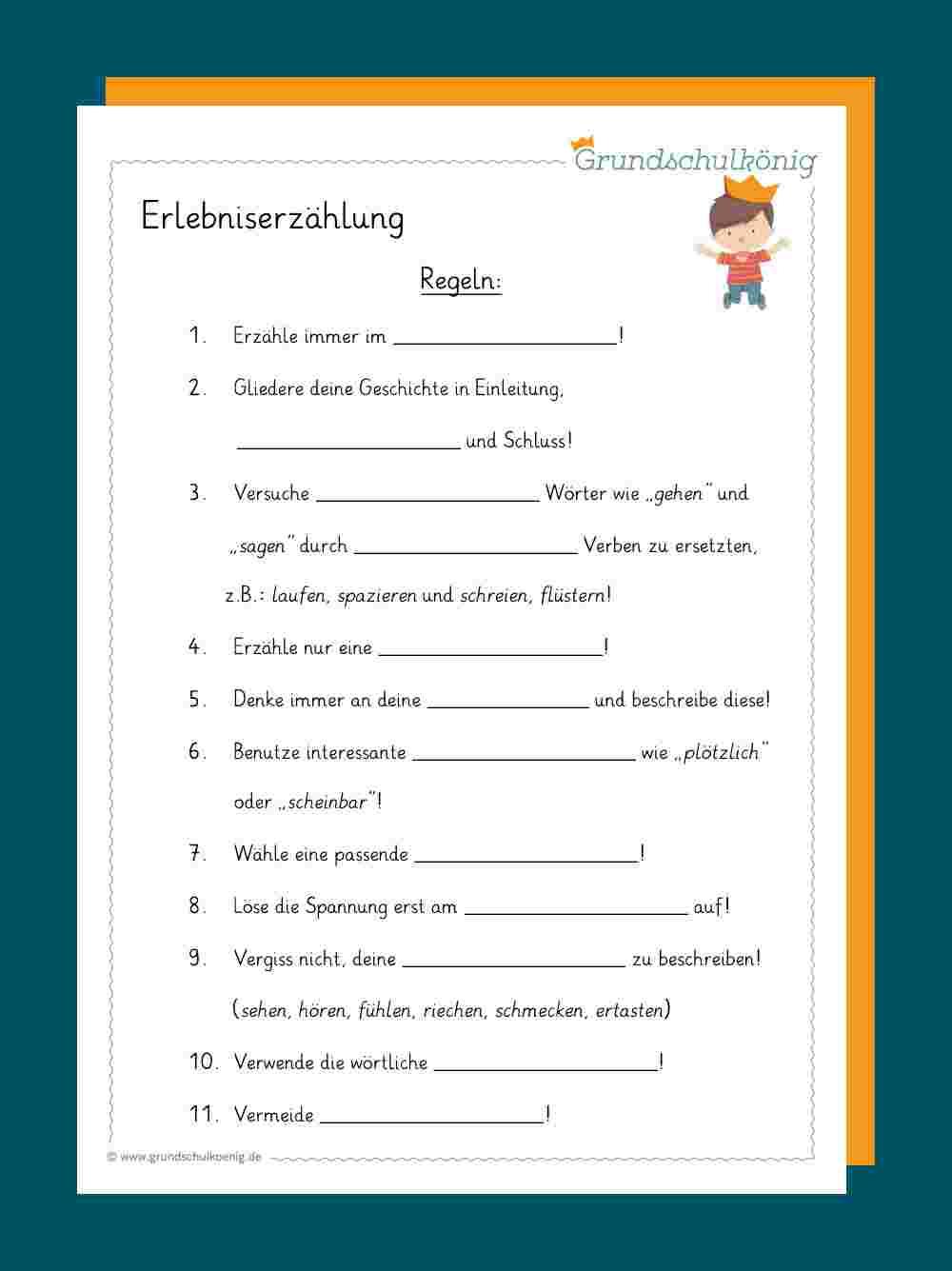 Erlebniserzählung innen 4 Klasse Deutsch Geschichte Schreiben