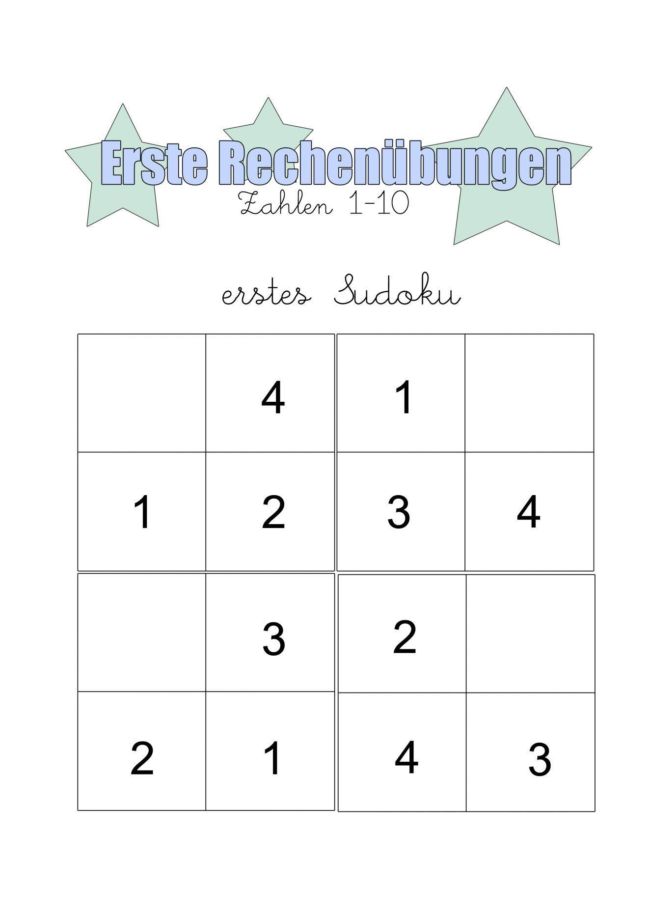 Erste Rechenübungen Zum Ausdrucken | Rechnen, Rätsel Für für Sudoku Kostenlos Ausdrucken