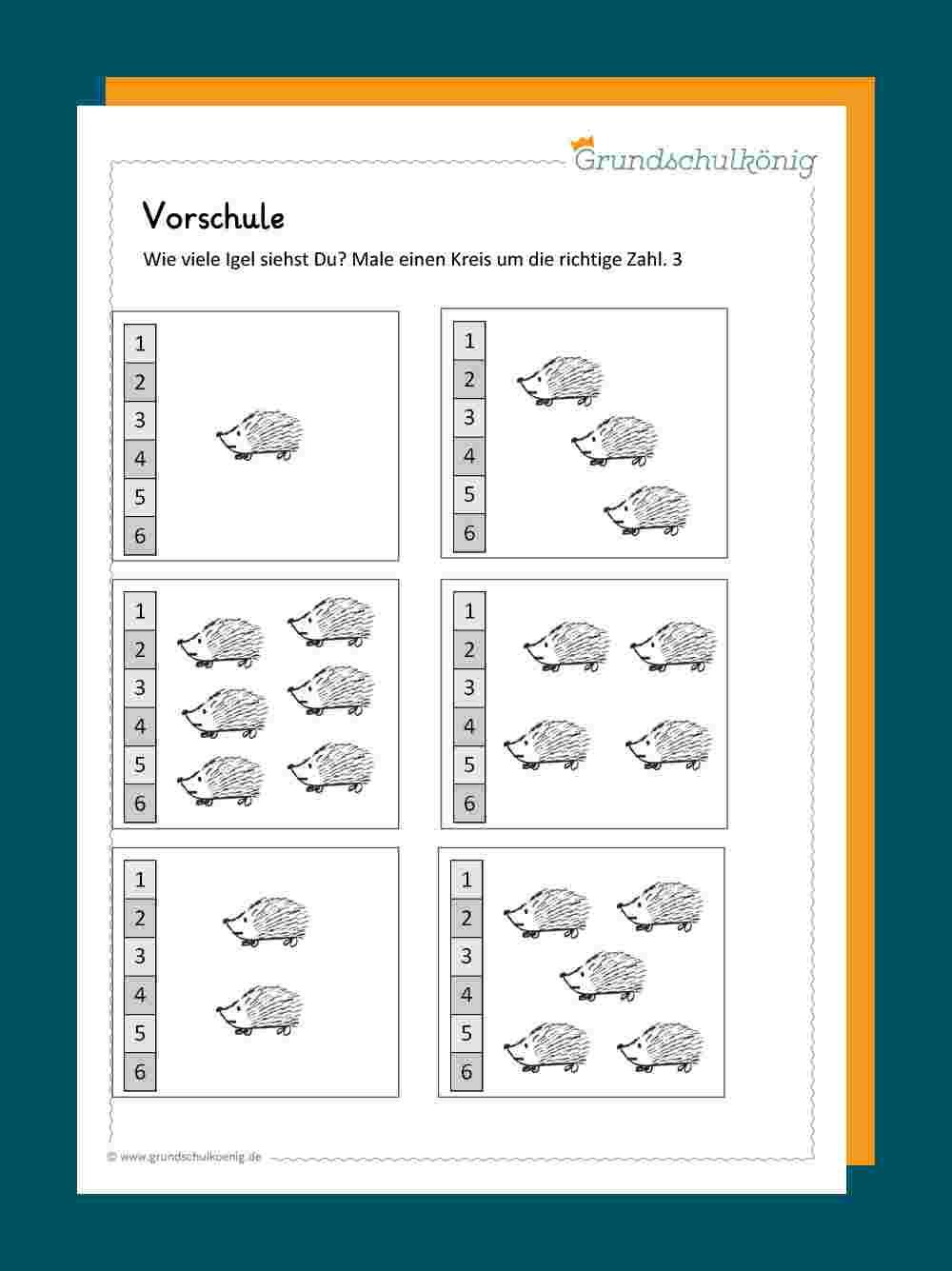 Erste Zahlen ganzes Mathematik Vorschule Arbeitsblätter Kostenlos