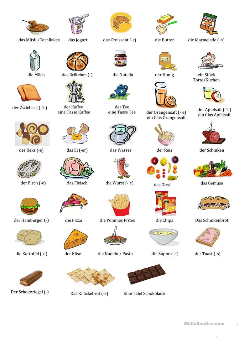 Essen Und Trinken - Deutsch Daf Arbeitsblatter bestimmt für Essen Und Trinken Bilder