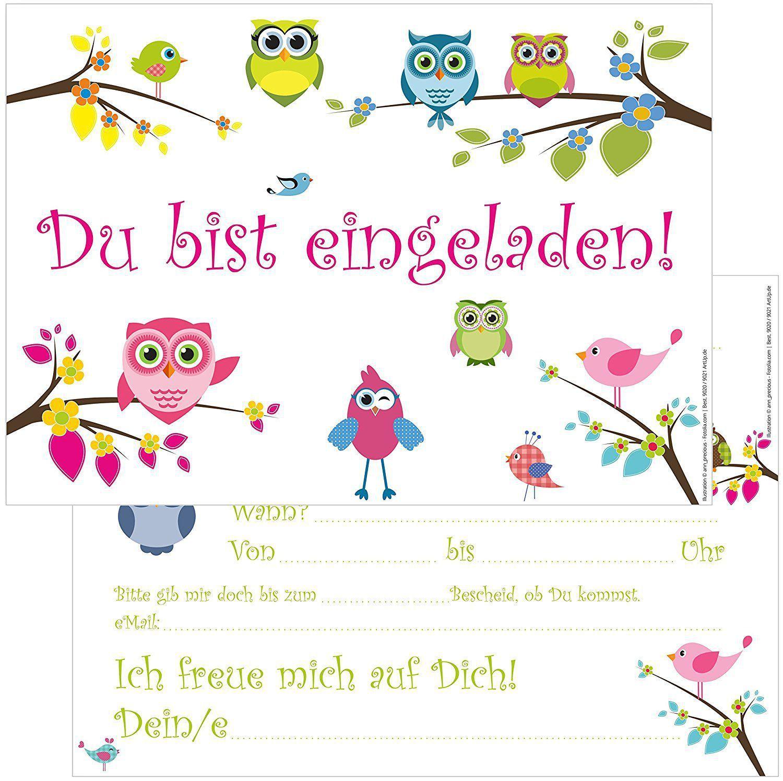 Eulen Einladungskarten Zum Ausdrucken (Mit Bildern bestimmt für Geburtstagskarten Kindergeburtstag