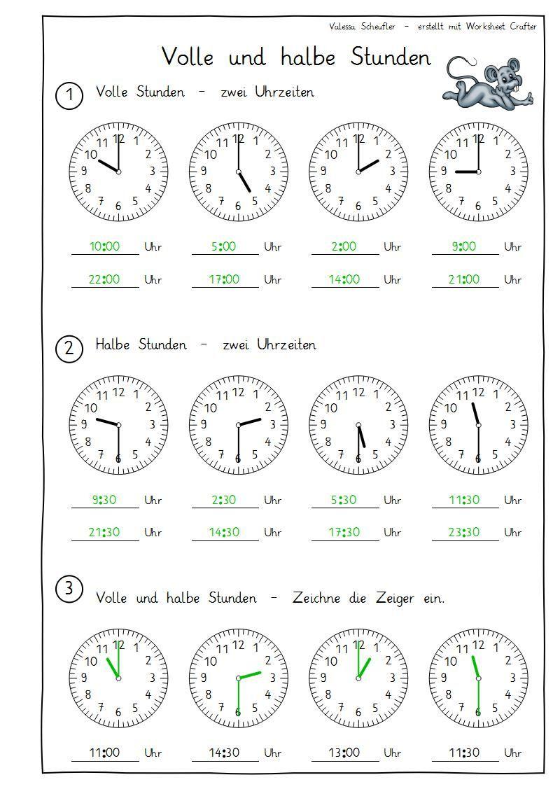 Eulenpost - Uhr - Volle Und Halbe Stunden (Mit Bildern ganzes Uhr Lernen Übungen