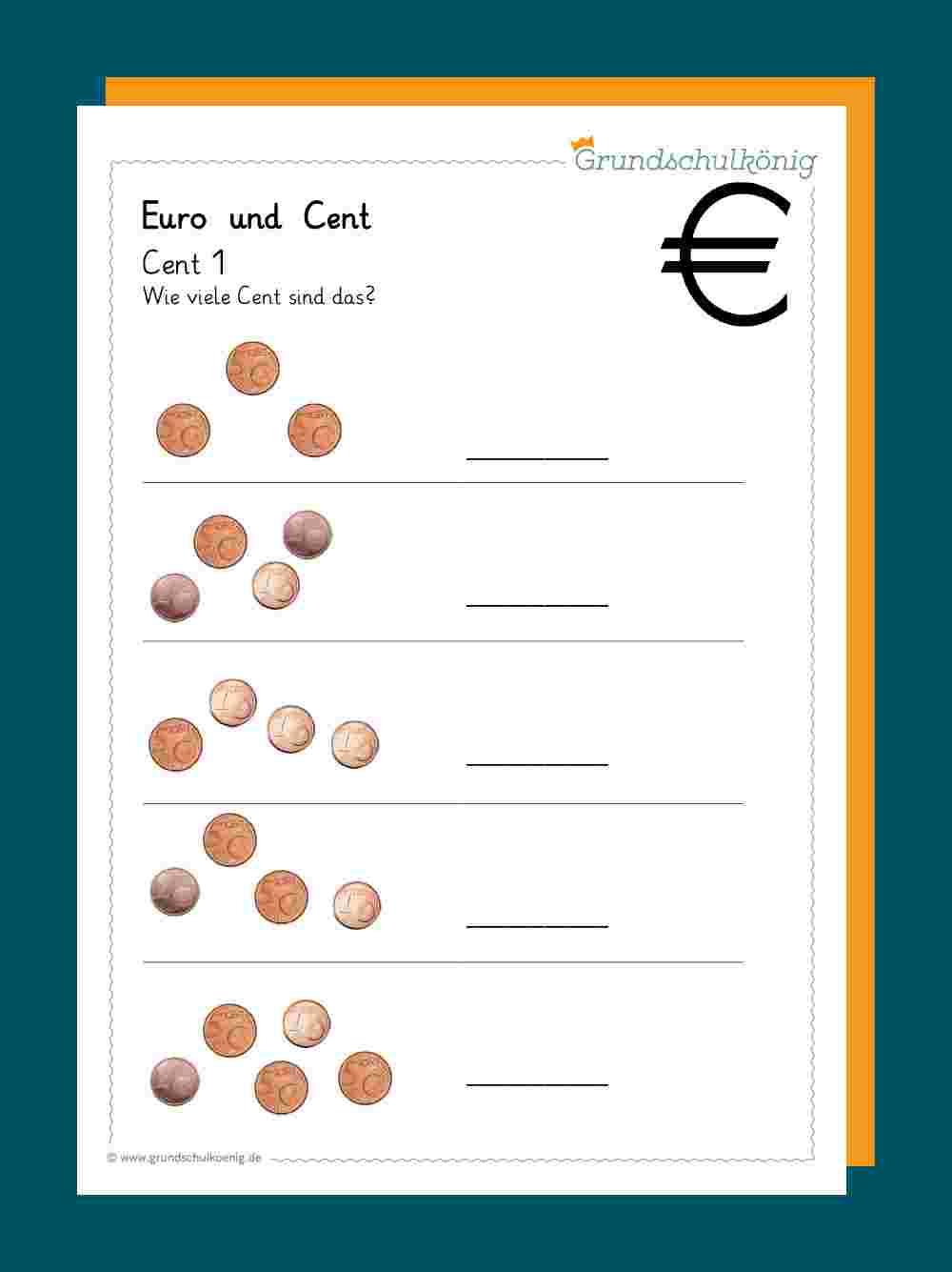 Euro Und Cent für Übungsaufgaben 1 Klasse Kostenlos
