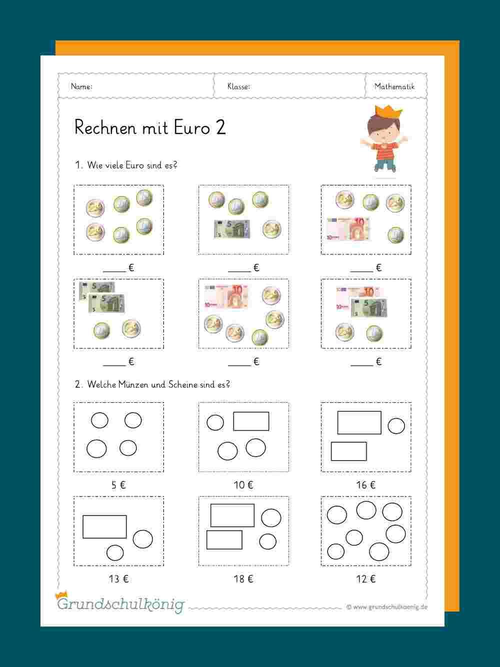 Euro Und Cent ganzes Rechenaufgaben 1 Klasse Kostenlos