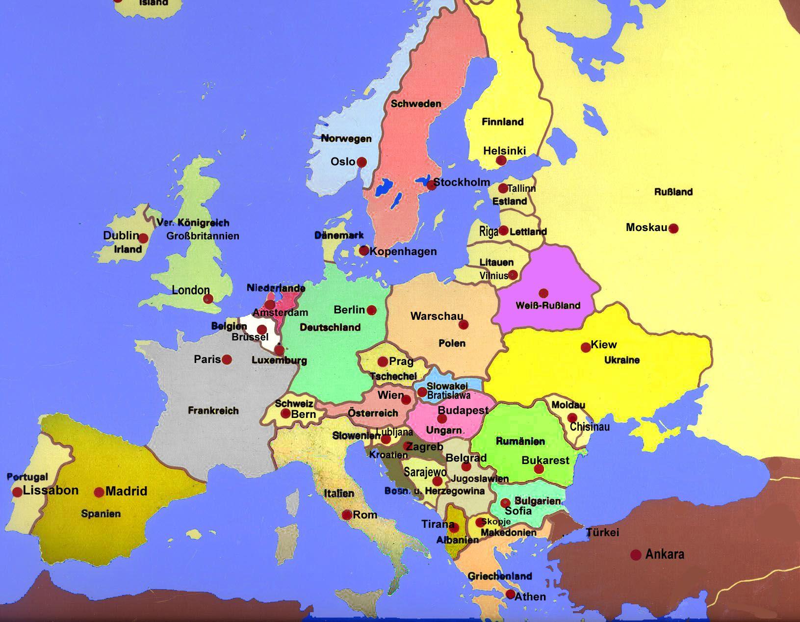 Europa Hauptstädte   Europa Reiseführer (Mit Bildern innen Europakarte Mit Hauptstädten Zum Ausdrucken