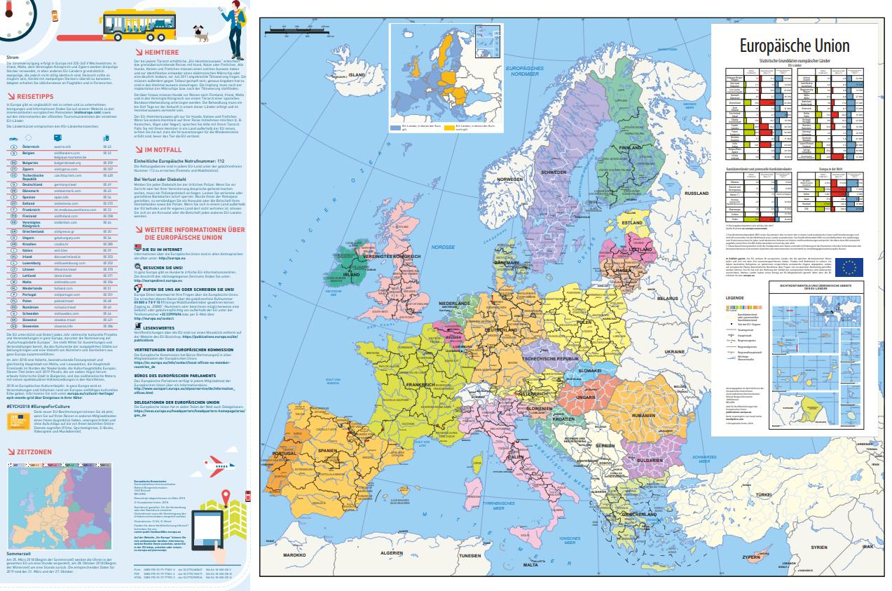 Europakarte 2018/2019 – Unterwegs In Europa Download in Europakarte Zum Drucken