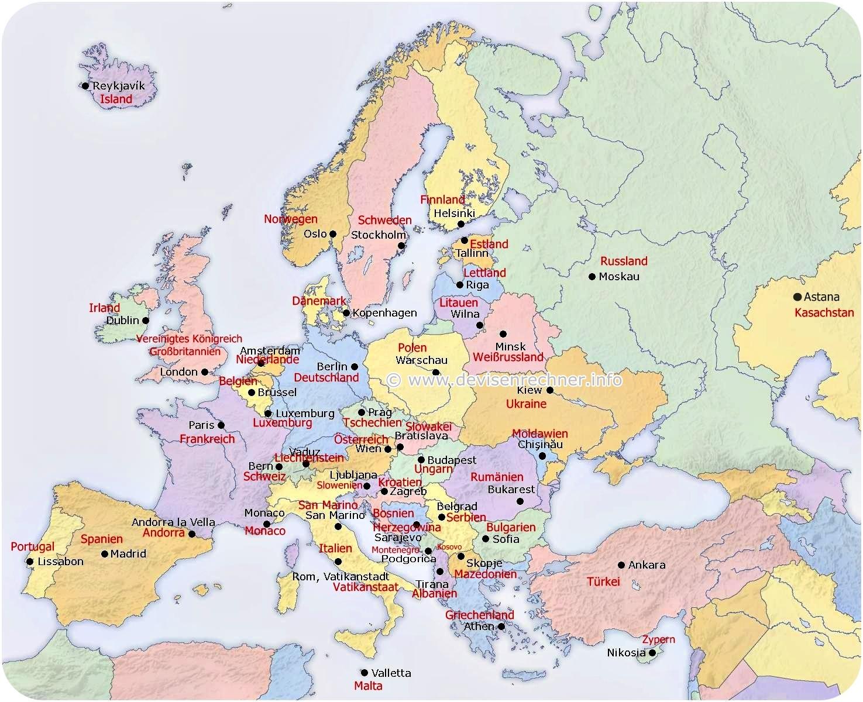 Europakarte - Landkarte Europa bei Europakarte Zum Drucken