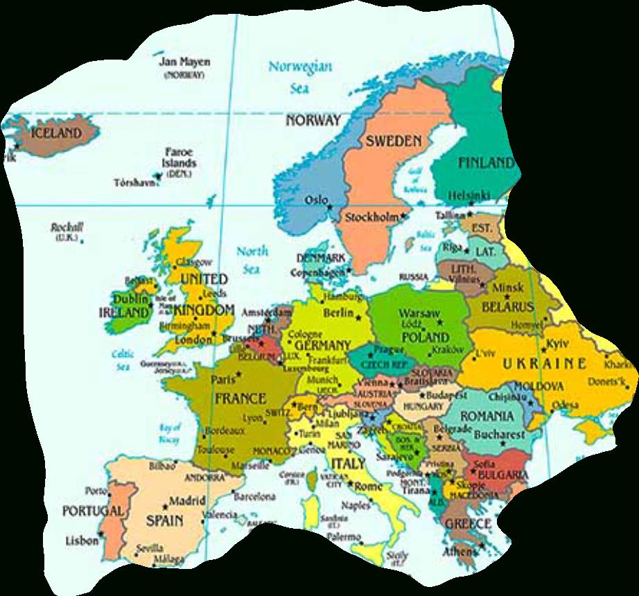Europakarte Mit Hauptstädten - Europakarte Zum Ausdrucken bei Europakarte Zum Ausdrucken