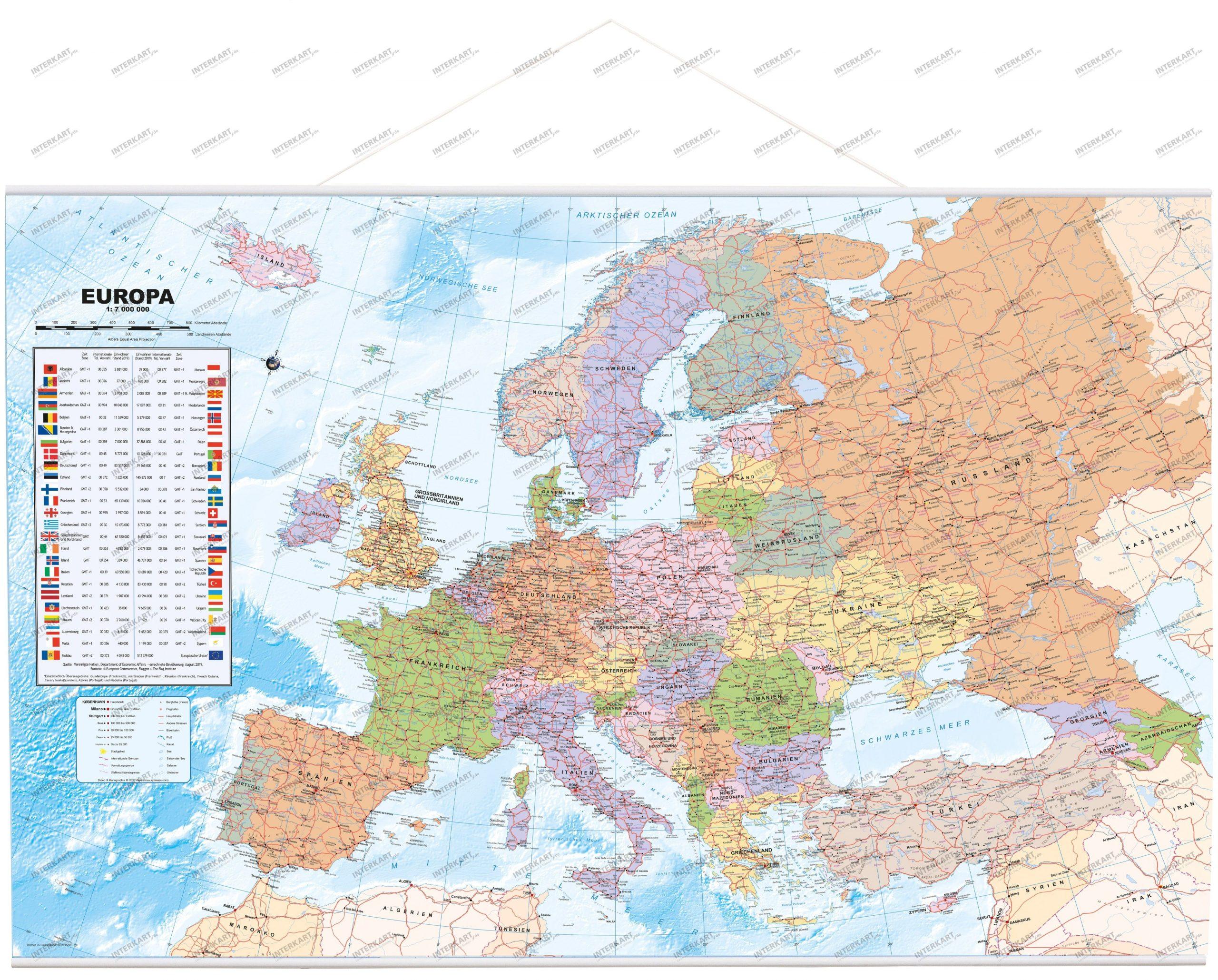 Europakarte Politisch Deutsch Als Poster 90 X 61Cm mit Karte Europa Ohne Beschriftung