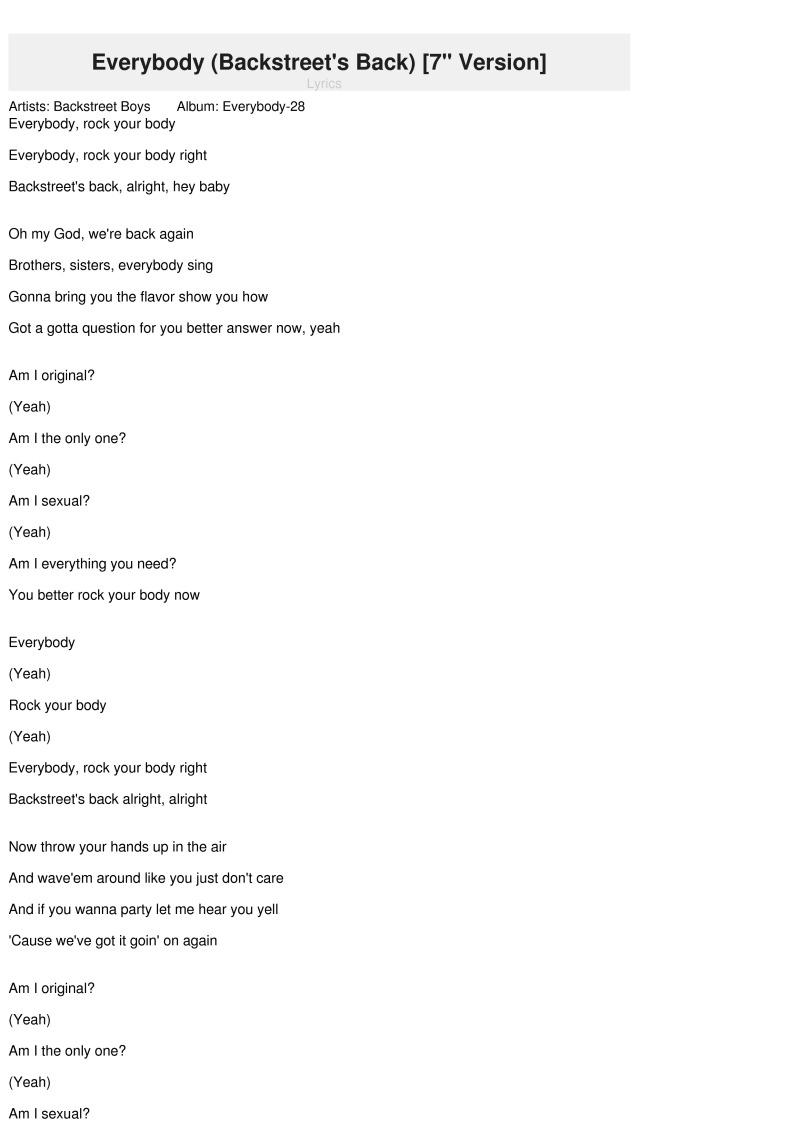 "Everybody (Backstreet's Back) [7"" Version] Lyrics innen Everybody Yeah Rock Your Body Lyrics"