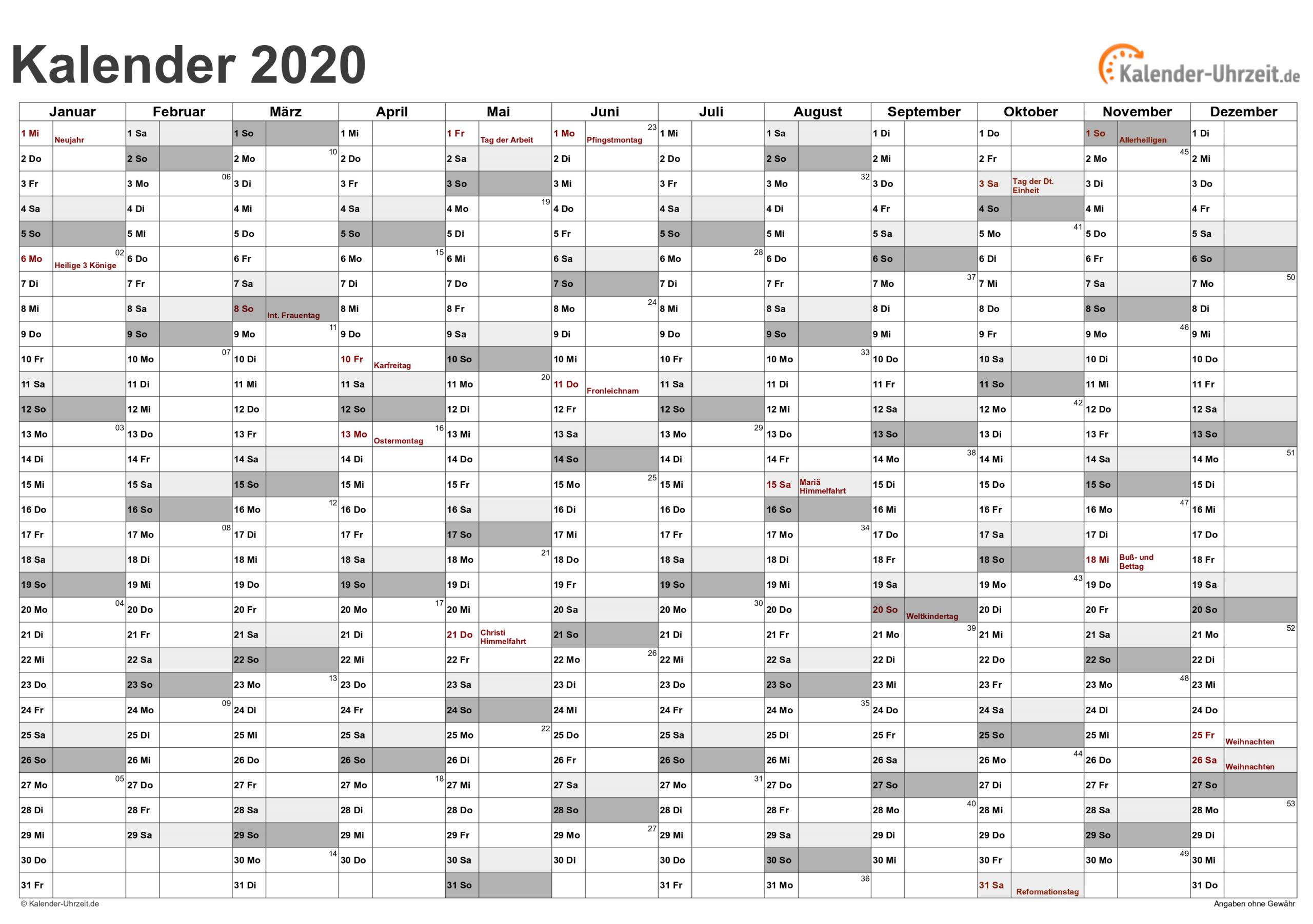 Excel-Kalender 2020 - Kostenlos innen Monatskalender Vorlage