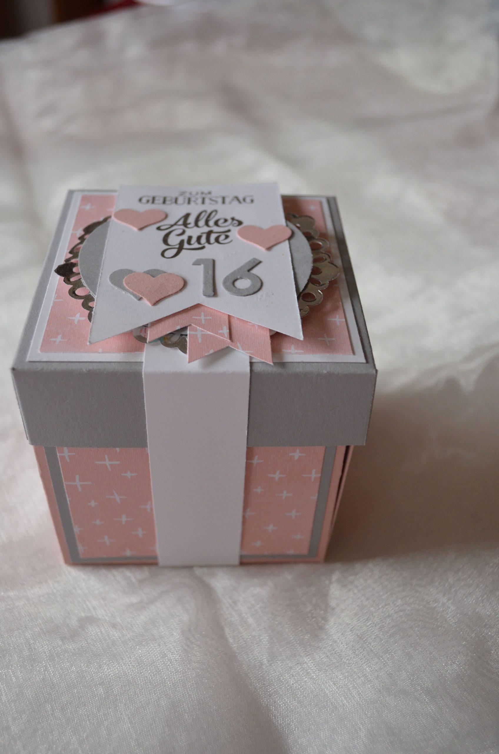Explosionsbox Zum 16. Geburtstag In Kirschblüte/schiefergrau für Geschenke Zum 16 Geburtstag Selber Machen