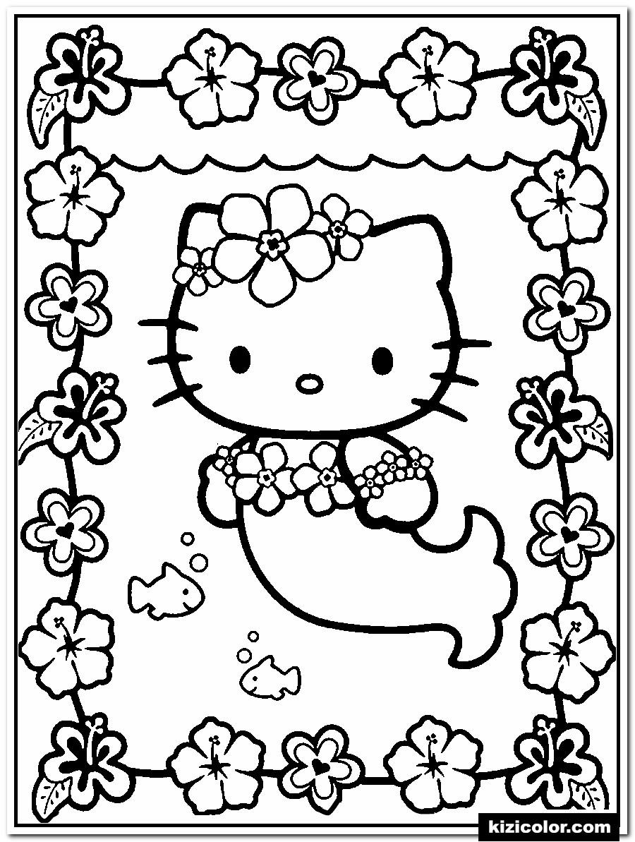 🎨 Meerjungfrau Hallo Kitty - Ausmalbilder Kostenlos Zum bestimmt für Hello Kitty Ausmalbilder Weihnachten
