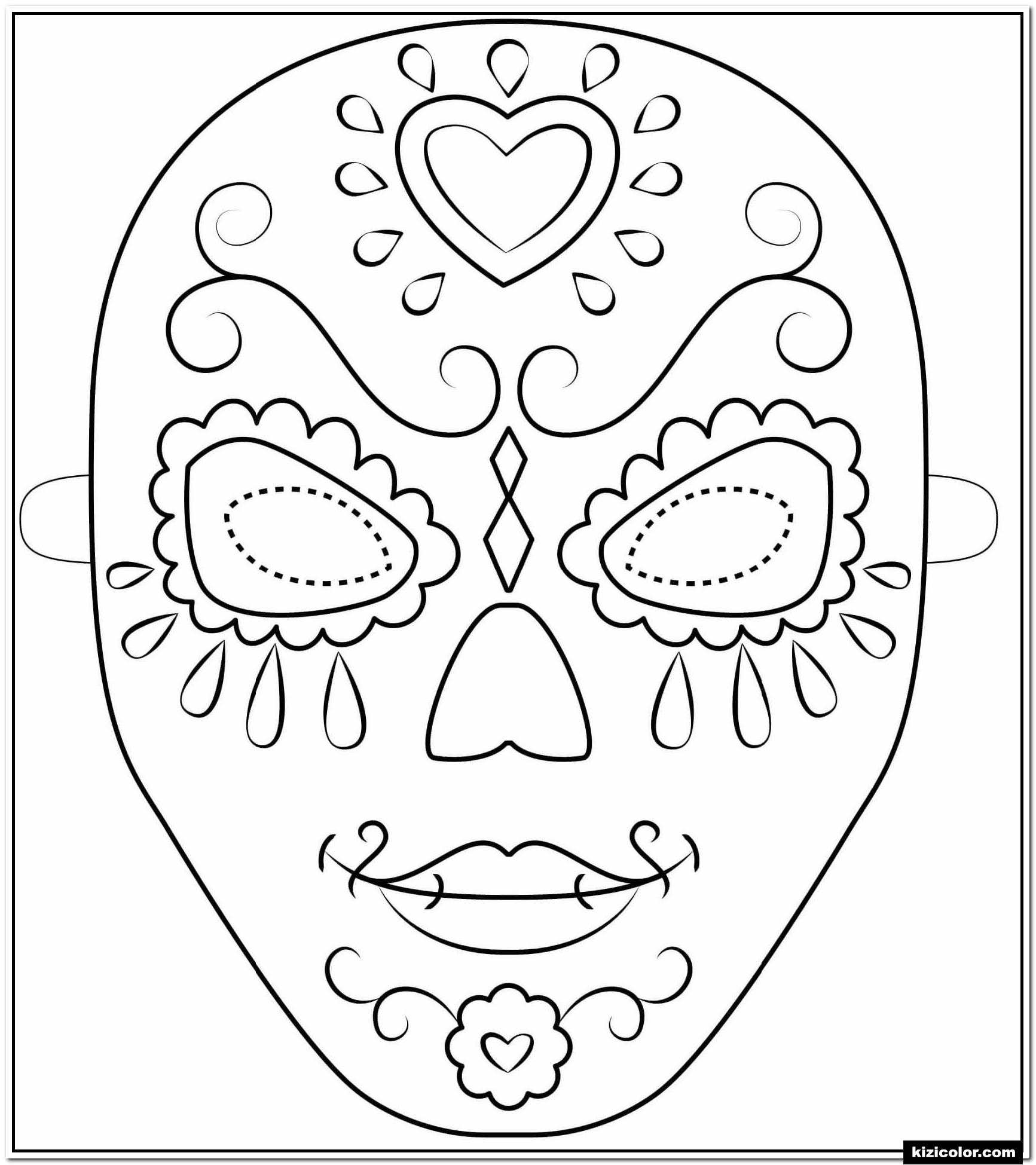 🎨 Tag Der Toten Maske Umris Halloween - Ausmalbilder bestimmt für Halloween Masken Zum Ausdrucken Kostenlos
